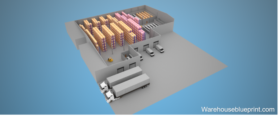 Rendered 3D layout of warehouse