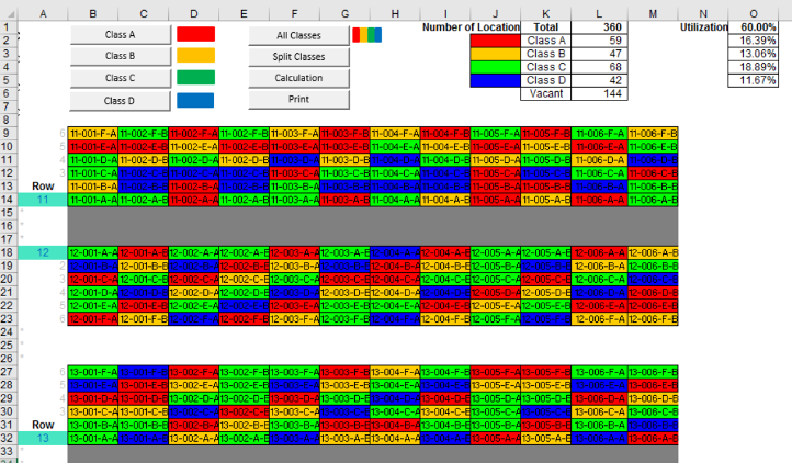 Heatmap of picking frequency in excel